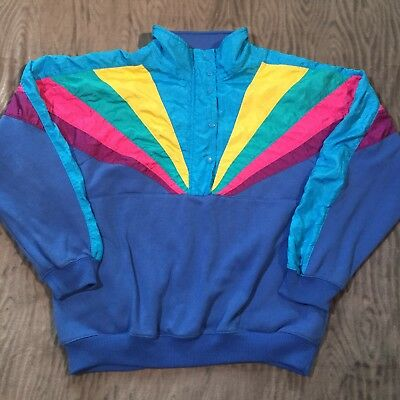 Vtg 80s Lavon Womens XL Sweatshirt Windbreaker Pullover Blue Colorful Snap Zip