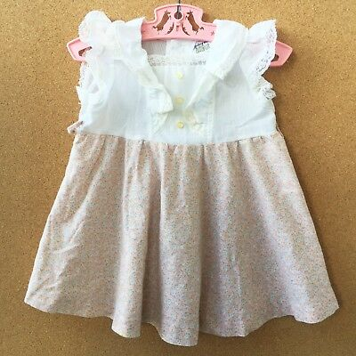 Vintage Cinderella Baby Girl's Dress 1980's 2T White Ruffled Pink Floral