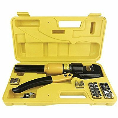 10 Tons Hydraulic Crimper Crimping Tool Wire Battery Cable Lug Terminal W/ Dies