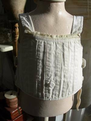 Antique vintage French small child's corset liberty bodice w. milk glass buttons