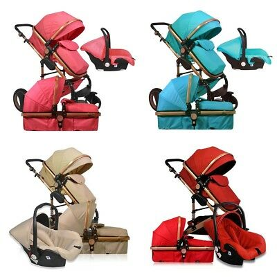3 in 1 Foldable Baby Kid Pushchair Infant Stroller High View Hand Bassinet