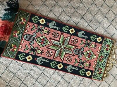 Swedish vintage handembroidered wool wallhanging tapestry, green stylised star