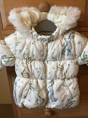 NEXT girls  rabbit/hare hooded puffa winter jacket coat 9-12 Months