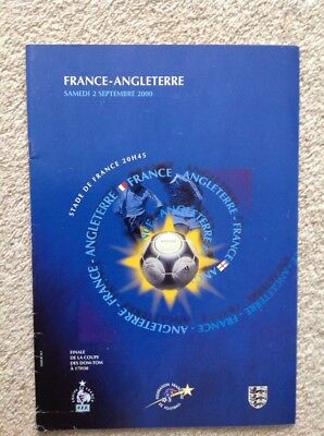 France v England - Football Programme, International Friendly September 2000 VGC