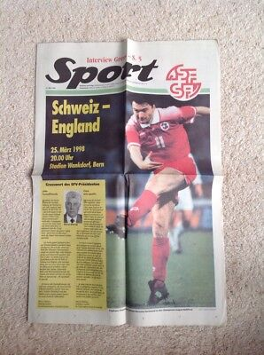 Switzerland v England - Football Programme 25 March 1998 (Friendly) VGC