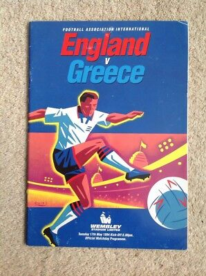 England v Greece - Football Programme, International Friendly, May 1994 VGC