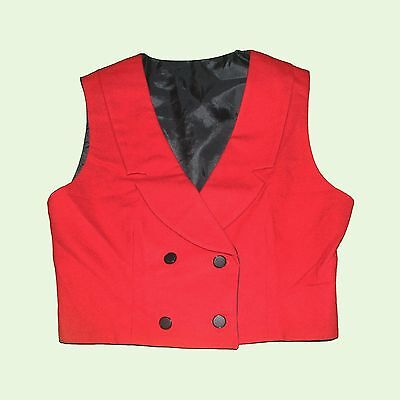 VINTAGE Red Black 80s Tailored Double Breasted Collar Waistcoat Button Crop Top