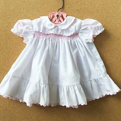 Vintage Baby Girl's Dress 1980's 0-6mos? White Ruffled Pink Piping Doll Dress