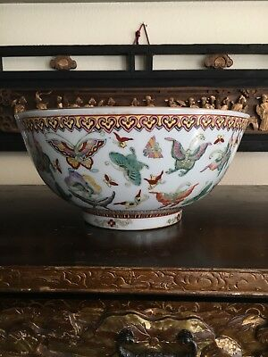 Chinese Export Famille Rose Porcelain 1000 Butterfly Bowl Red Seal Mark NR