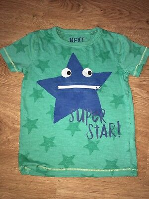 Next Boys Green Star Short Sleeve T-Shirt Age 3-4 Years GUC!!
