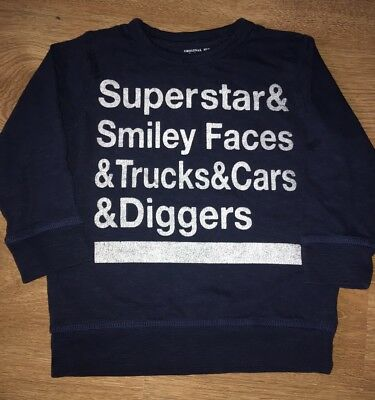 Next Boys Blue Slogan Long Sleeve Top Age 2-3 Years EUC!!