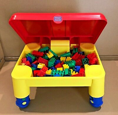 Mega Bloks Play Table W/ 120 Mega Bloks Compatible With Lego Duplo Blocks