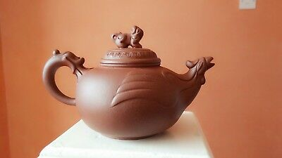 Chinese Yixing/Clay teapot with exquisite Phoenix spout and Dragon handle