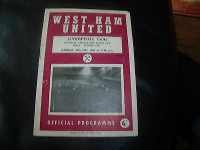 west ham utd colts v liverpool colts fa youth cup final 25/5/1963