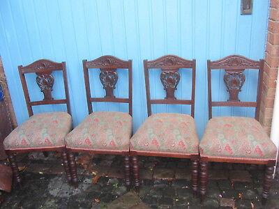 4 X Carved Walnut Chairs