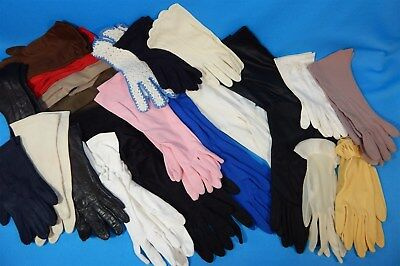 23 Pairs Lot VTG 1950s - 70s Womens Dress Gloves Crochet Pearls Leather ++