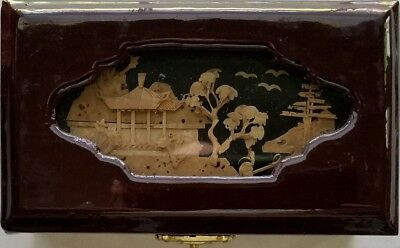 Vintage Chinese San You Cork Carving Diorama Jewelry Box - New Old Stock (NOS)