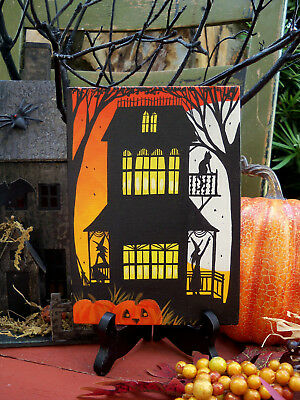ORIGINAL painting folk art whimsical Halloween witches house cat broom moon tree