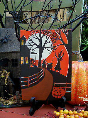 ORIGINAL painting folk art whimsical Halloween witch black cat vintage 50's look