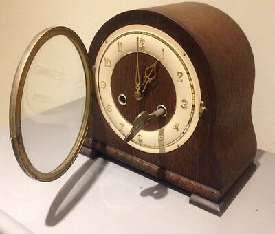 Antique Mantel Clock Wood Wind Up Key With Chimes Glass Door Art Deco Retro Vint