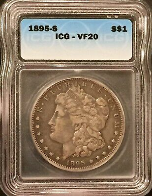 1895 S Morgan Silver Dollar Icg Vf 20 Rare Key Date Coin - Only 400,000 Minted