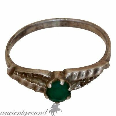 An Amazing Wearable Silvered Cypriot Vintage Ring With Nice Green Stone