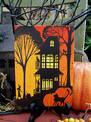 ORIGINAL painting folk art whimsical Halloween witch house black cat moon trees