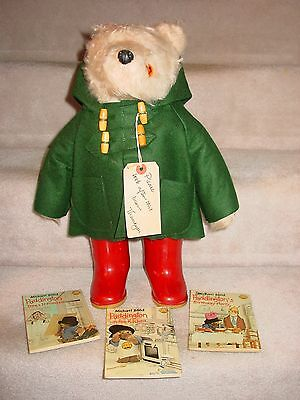 "Vintage 19"" Red Hat Paddington Plush Bear Made In England Green Coat Dunlop Boot"