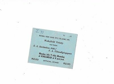 Ticket South Africa Uitnodigingspan v Wakefield Trinity 9/7/1962 @ Kingsmead