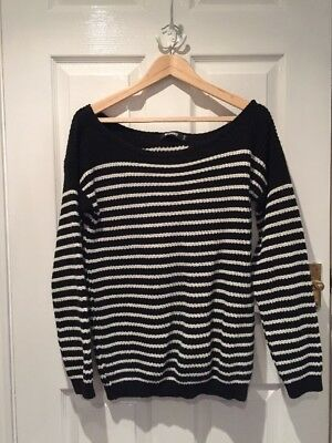 Women's Black & White Striped Knitted Jumper - Size S/M - Missguided - Oversized