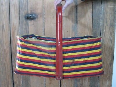Vintage Hand Held Shopping Basket Wood Handle Metal/fabric Tote Shop Carry