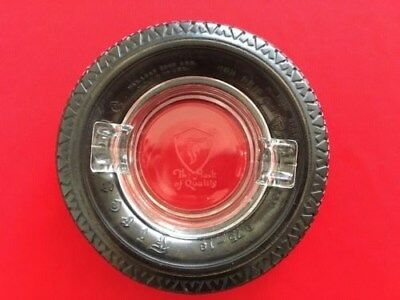 """Vintage Firestone """"The Mark of Quality"""" Gum Dipped Rubber Tire / Glass Ashtray"""
