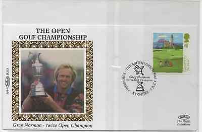 1994-123rd OPEN CHAMPIONSHIP SILK PRESENTATION FIRST DAY STAMP COVER @TURNBERRY