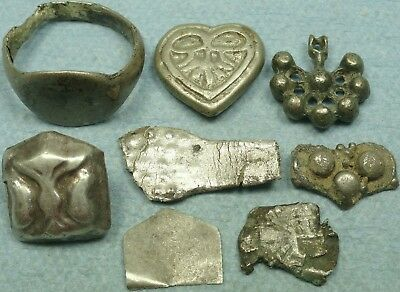 Lot Of 8 Ancient Silver Jewelry Artifacts