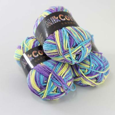 C 4ballx50g Multicolor Cotton Baby Yarn Hand-dyed Wool Socks Scarf Knitting 22