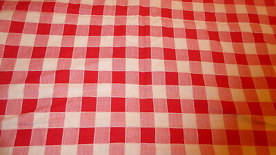 Large Red + White Striped Gingham WHOLE Wintage FEEDSACK cotton Quilt top block