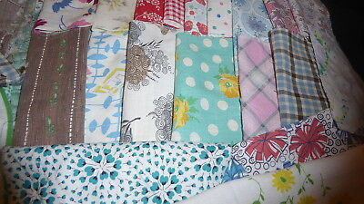 "Lot of 20 Vintage Feedsack Pcs. 5""-8""++Squares Quilt top blocks cotton fabric"