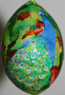 gourd Easter egg, yard or Christmas ornament with peacock