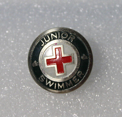 Vintage Red Cross Junior Swimmer Pin Back Button Pin
