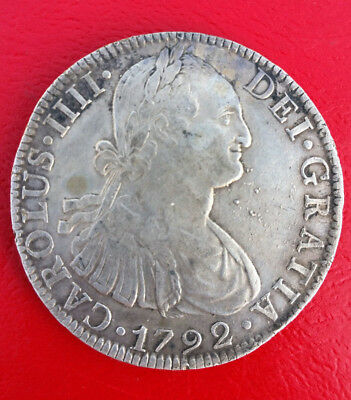 1792 8 Reales Mo Fm Mexico City Mint Features King Charles Iv Nice Details