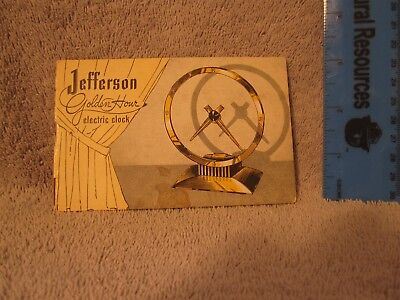Jefferson Mystery Clock Papers Booklet Instructions