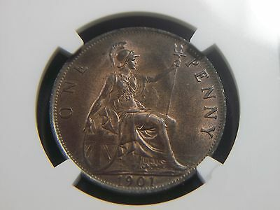 1901 Great Britain Penny NGC MS65 BN       8006