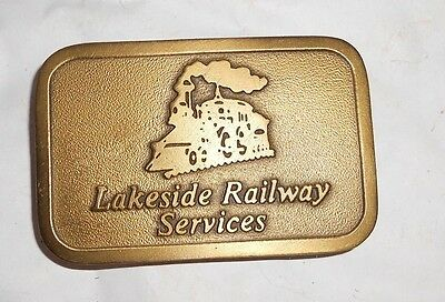 Vtg Lakeside Railway Services Belt Buckle Brass/Bronze Dolton IL US Pencil Co