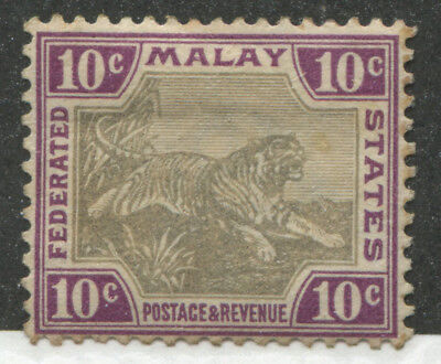 Malaya Federated States 1901 10 cents Tiger violet & gray mint o.g.