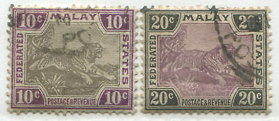 Malaya Federated States 1901 10 cents & 20 cents Tiger violet & gray used