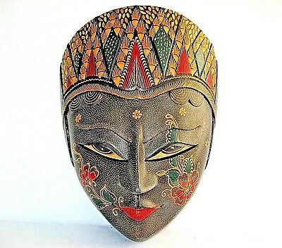 """African Jamaican Multi Color Decorative Face Wall Mask 11"""" Tall"""