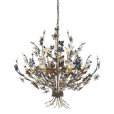 9 Light Chandelier Lighting Fixture, Bronze, Multi-Colored Crystal Flowers, Elk