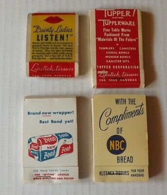 Old Vintage Advertising Lipstick Tissues - candy bread tupperware - cosmetic