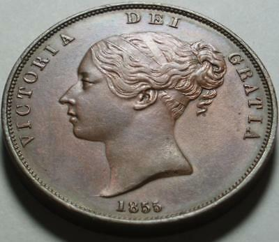 1855 GREAT BRITAIN Large Heavy COPPER PENNY Type 1 of 3 QUEEN VICTORIA Portraits