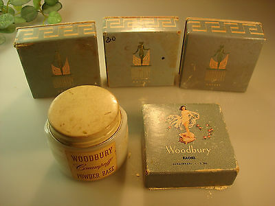 5 Vintage Woodbury Makeup containers, 4 deco powder boxes, lady on shell, 1 Jar!